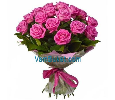 """Bouquet of 25 pink roses"" in the online flower shop vambuket.com"