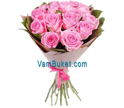 """Bouquet of 15 pink roses"" in the online flower shop vambuket.com"