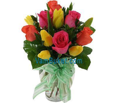 """""""Букет из 11 разноцветных тюльпанов"""" в интернет-магазине цветов vambuket.com"""