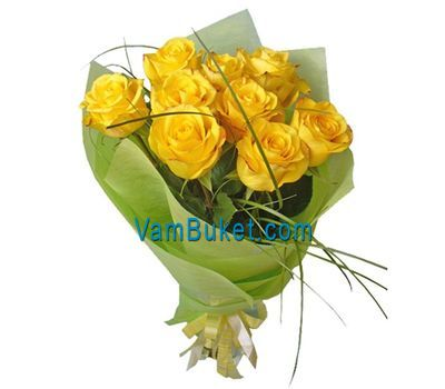 """Bouquet of flowers of 9 yellow roses"" in the online flower shop vambuket.com"