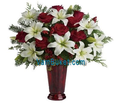"""Bouquet for the New Year from roses and lilies"" in the online flower shop vambuket.com"