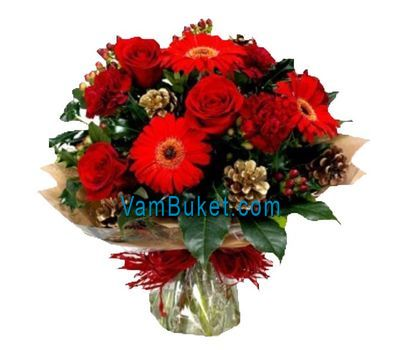 """Bouquet for Christmas from roses and gerberas"" in the online flower shop vambuket.com"