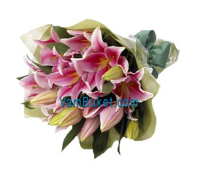 """Bouquet of flowers of 5 pink lilies"" in the online flower shop vambuket.com"