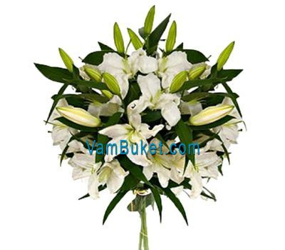 """Bouquet of flowers from 3 white lilies"" in the online flower shop vambuket.com"
