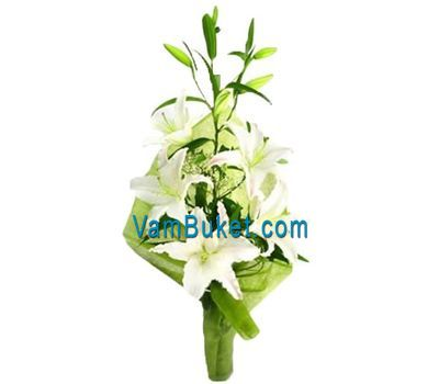 """Bouquet of flowers from 1 white lily"" in the online flower shop vambuket.com"