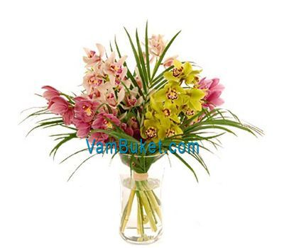 """Bouquet of flowers from 5 branches of a multicolored orchid"" in the online flower shop vambuket.com"