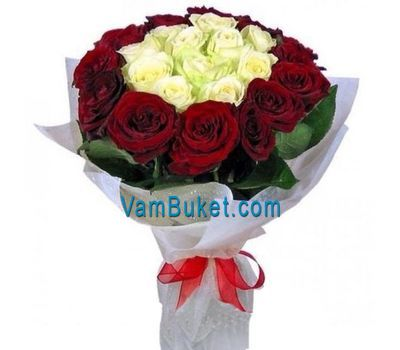 """Bouquet of 15 red and 12 white roses"" in the online flower shop vambuket.com"