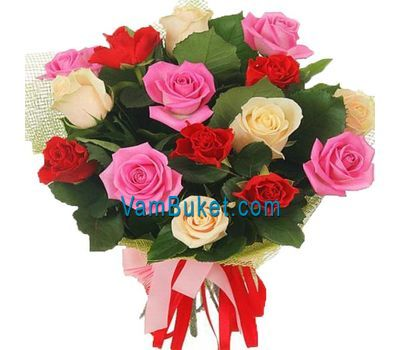 """Bouquet of 21 multi-colored roses"" in the online flower shop vambuket.com"