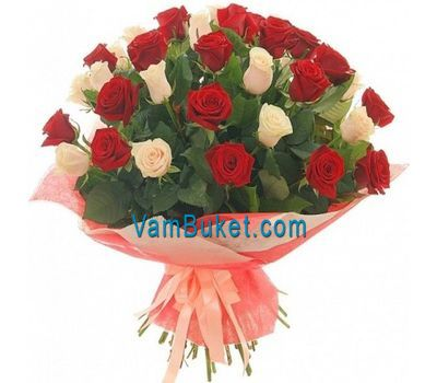 """Bouquet of 26 red roses and 25 white roses"" in the online flower shop vambuket.com"