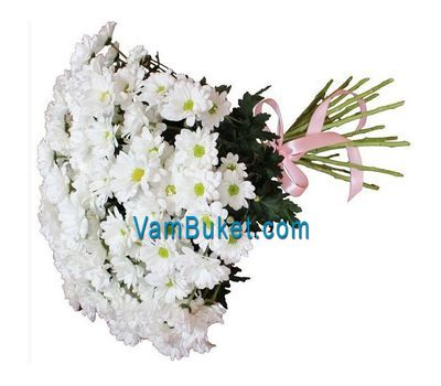 """Bouquet of flowers from 25 chamomile chrysanthemums"" in the online flower shop vambuket.com"