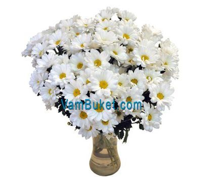 """Bouquet of flowers from 15 chamomile chrysanthemums"" in the online flower shop vambuket.com"