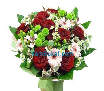 """Bouquet of flowers of 11 roses, 7 gerberas, 4 alstroemerias and 3 chrysanthemums"" in the online flower shop vambuket.com"