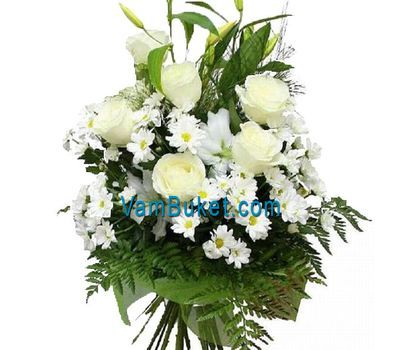 """Bouquet of flowers from 6 roses, 6 chrysanthemums and 1 lilies"" in the online flower shop vambuket.com"