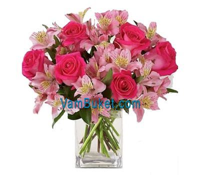 """Bouquet of flowers from 7 roses and 6 alstroemerias"" in the online flower shop vambuket.com"