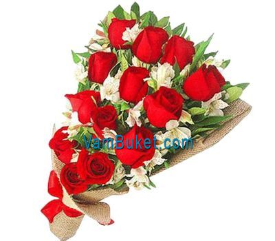 """Bouquet of flowers from 13 roses and 8 alstroemerias"" in the online flower shop vambuket.com"