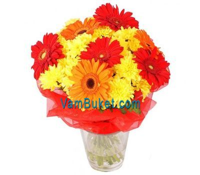 """Bouquet of flowers of 3 roses, 3 gerberas and 3 chrysanthemums"" in the online flower shop vambuket.com"