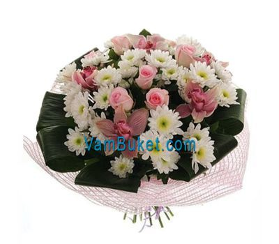 """Bouquet of flowers from 5 roses, 5 orchids and 9 chrysanthemums"" in the online flower shop vambuket.com"