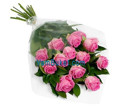 """Bouquet of 11 pink roses"" in the online flower shop vambuket.com"