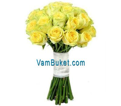"""Bouquet of flowers of 25 yellow roses"" in the online flower shop vambuket.com"