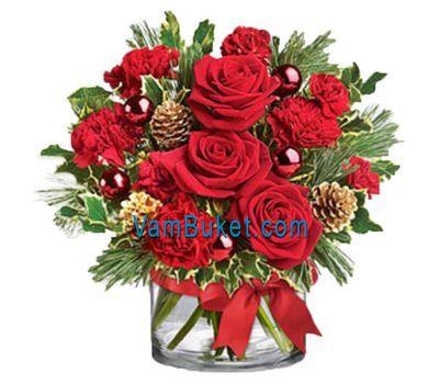 """""""Композиция на Рождество и Новый год"""" в интернет-магазине цветов vambuket.com"""