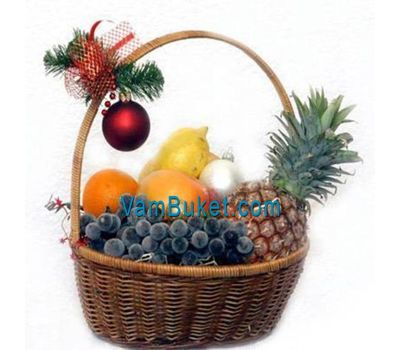 """Fruit basket with Christmas decoration"" in the online flower shop vambuket.com"