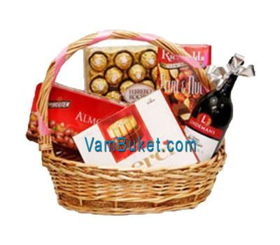 """Basket with sweets and wine"" in the online flower shop vambuket.com"
