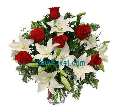 """New Year''s bouquet with spruce"" in the online flower shop vambuket.com"