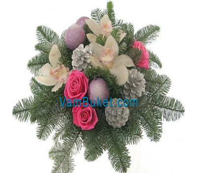 """Table Christmas composition"" in the online flower shop vambuket.com"