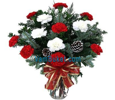 """New Year bouquet of spruce and carnations"" in the online flower shop vambuket.com"