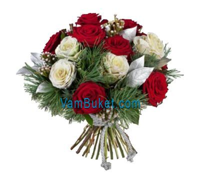 """""""New Year bouquet of roses and pine branches"""" in the online flower shop vambuket.com"""