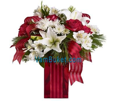 """""""New Year bouquet of roses"""" in the online flower shop vambuket.com"""
