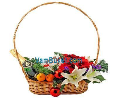 """""""Новогодняя корзина с цветами и фруктами"""" в интернет-магазине цветов vambuket.com"""