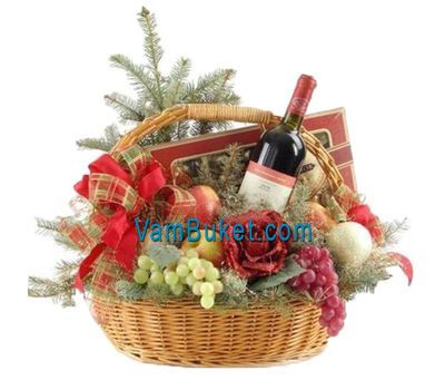 """A fruit basket for the New Year with flowers and a Christmas tree"" in the online flower shop vambuket.com"