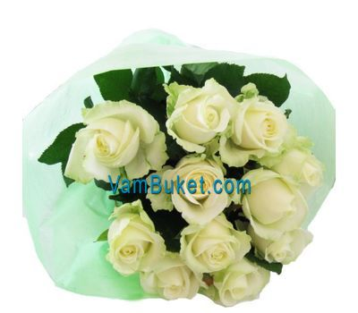 """11 white roses"" in the online flower shop vambuket.com"