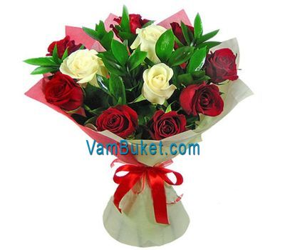 """Bouquet of 8 red and 3 white roses"" in the online flower shop vambuket.com"