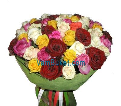"""Bouquet of 71 multi-colored roses"" in the online flower shop vambuket.com"