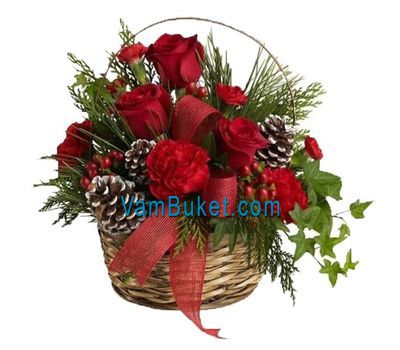 """Christmas basket of flowers of cones"" in the online flower shop vambuket.com"