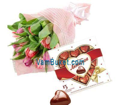 """""""Тюльпаны с сердцем из конфет"""" в интернет-магазине цветов vambuket.com"""